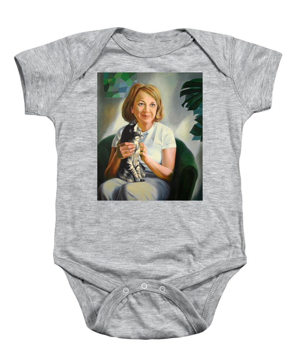 Girl Baby Onesie featuring the painting A Girl With A Cat by Jukka Nopsanen
