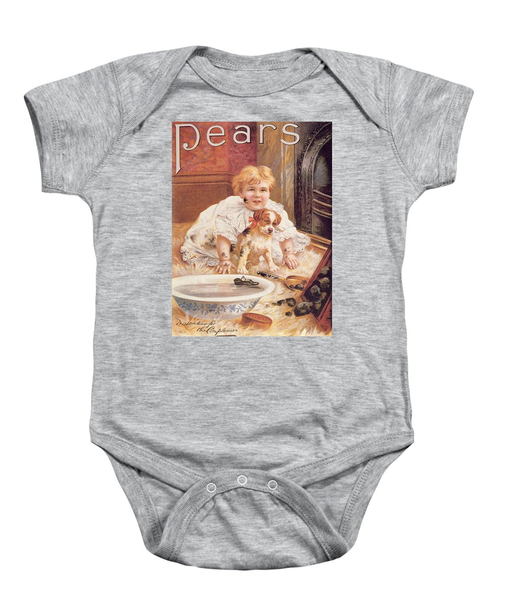 Bathing Baby Onesie featuring the photograph A Guilty Smile Before The Thrashing, From The Pears Annual by English School