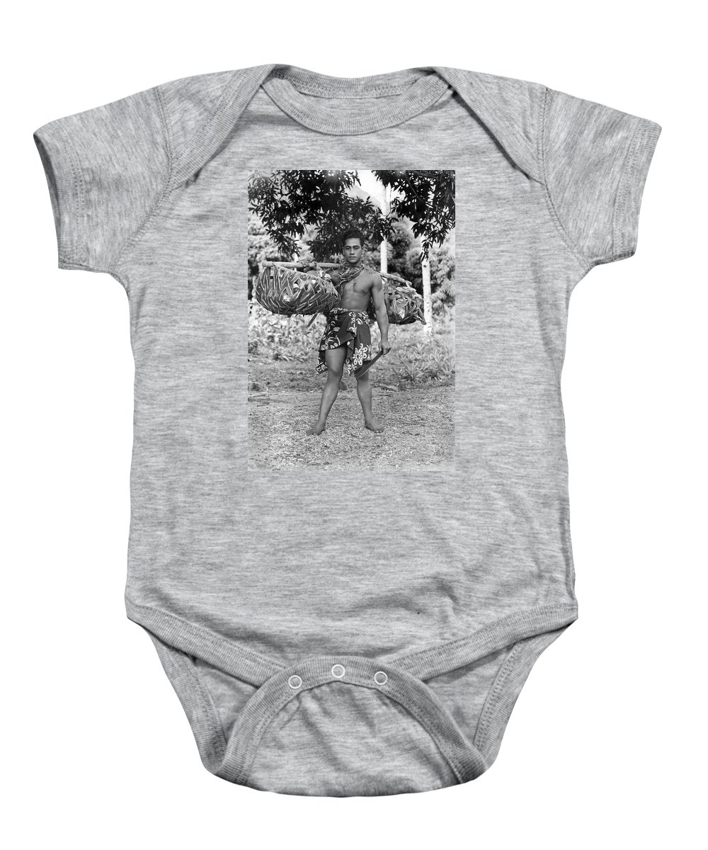 1920 Baby Onesie featuring the photograph A Hawaiian With Coconuts by Underwood Archives