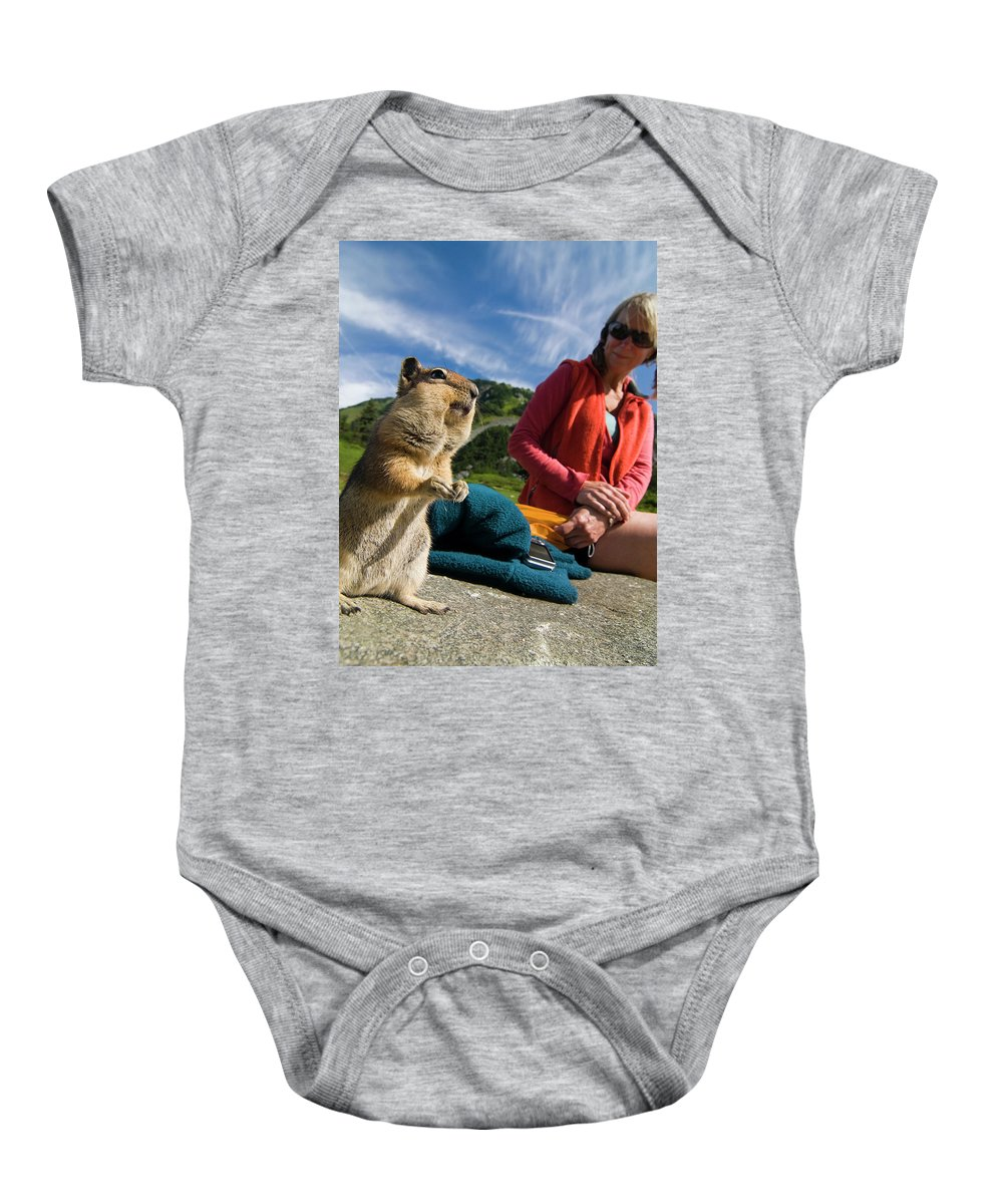 Animal Themes Baby Onesie featuring the photograph A Hiker Makes Friends With The Local by Cliff Leight