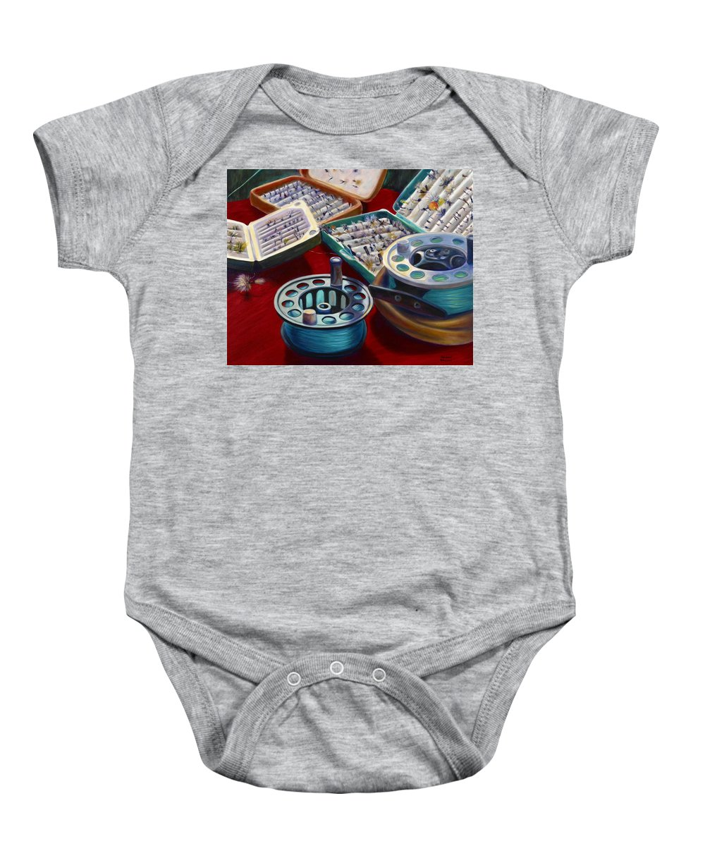 Still Life Baby Onesie featuring the painting A Howard Runs Through It by Shannon Grissom
