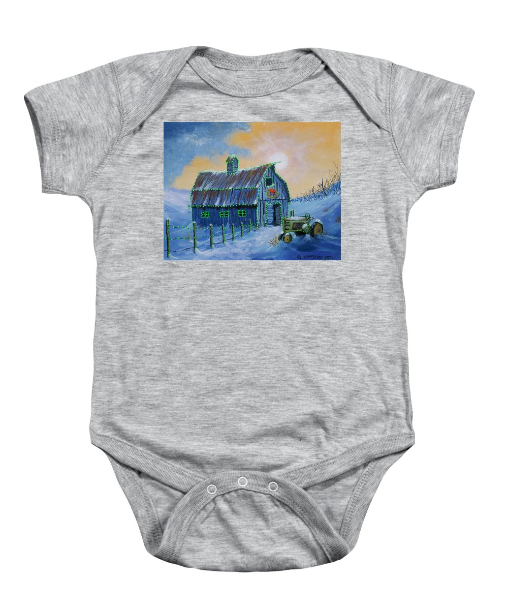 Christmas Baby Onesie featuring the painting A John Deere Green Christmas by Jerry McElroy