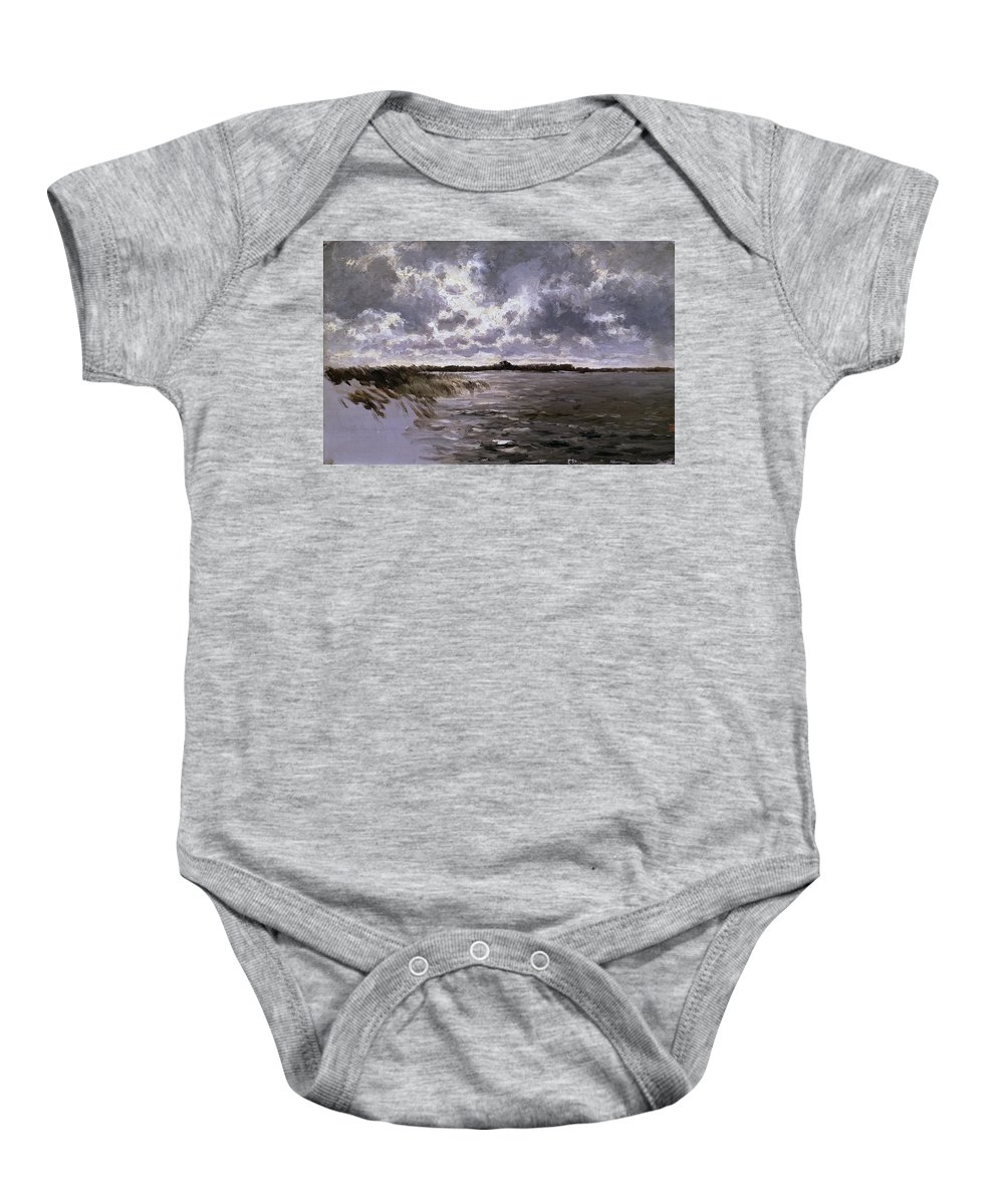 Carlos De Haes Baby Onesie featuring the painting A Lake In The Netherlands by Carlos de Haes