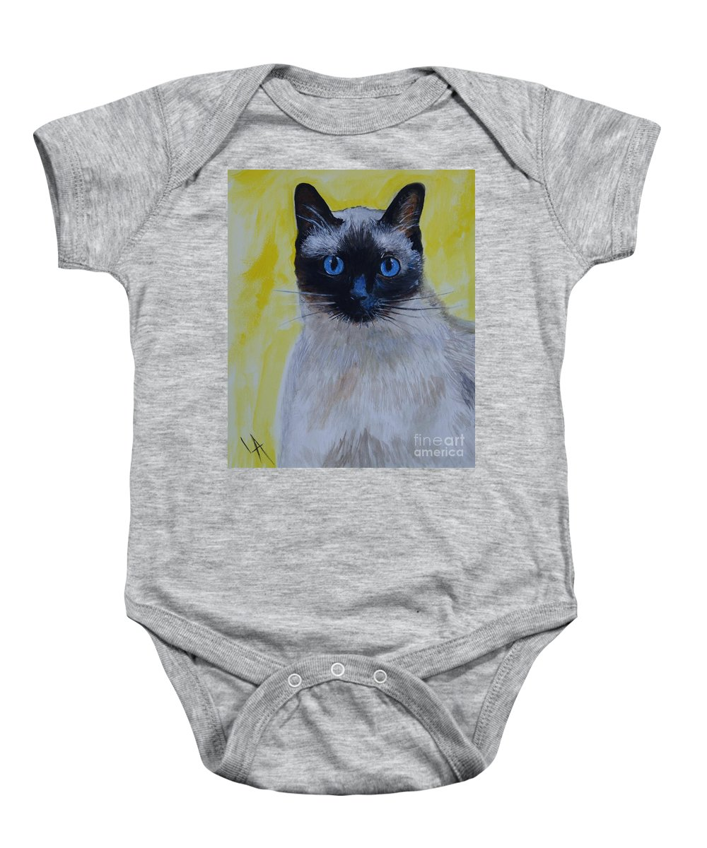 Siamese Baby Onesie featuring the painting A Loving Siamese by Leslie Allen