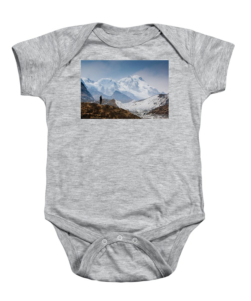 Himalayas Baby Onesie featuring the photograph A Man Contemplates The Size Of Kanchenjunga by Helix Games Photography