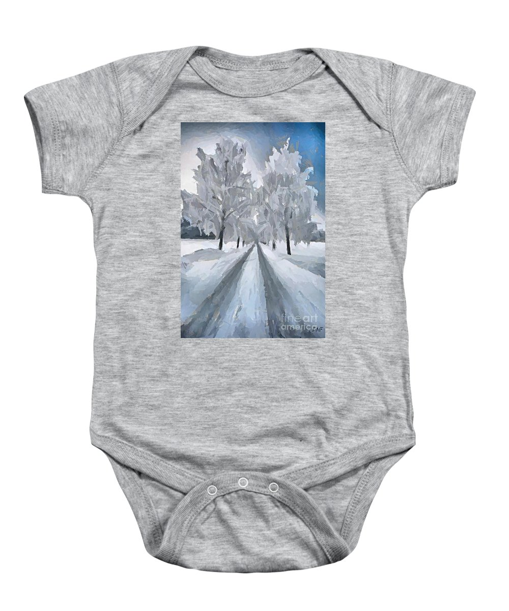 Landscape Baby Onesie featuring the painting A Path Through The Marsh by Dragica Micki Fortuna