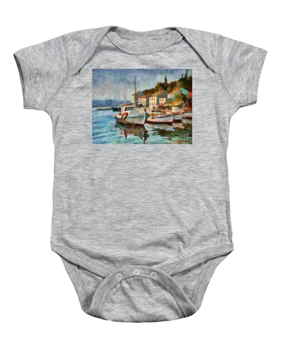 Landscapes Art Baby Onesie featuring the painting A Peaceful Harbour by Dragica Micki Fortuna