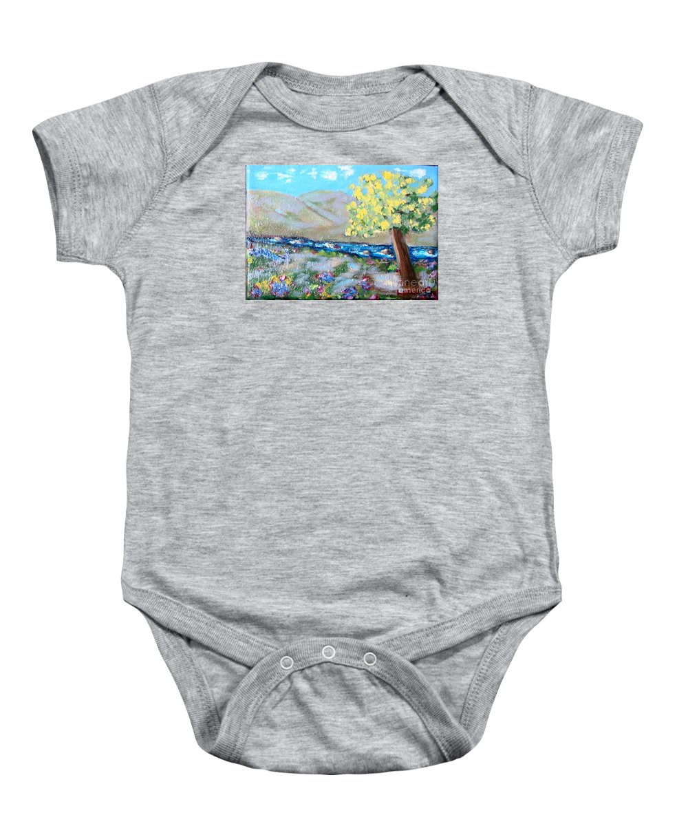 Landscapes Baby Onesie featuring the painting A Quiet Place by Laurie Morgan