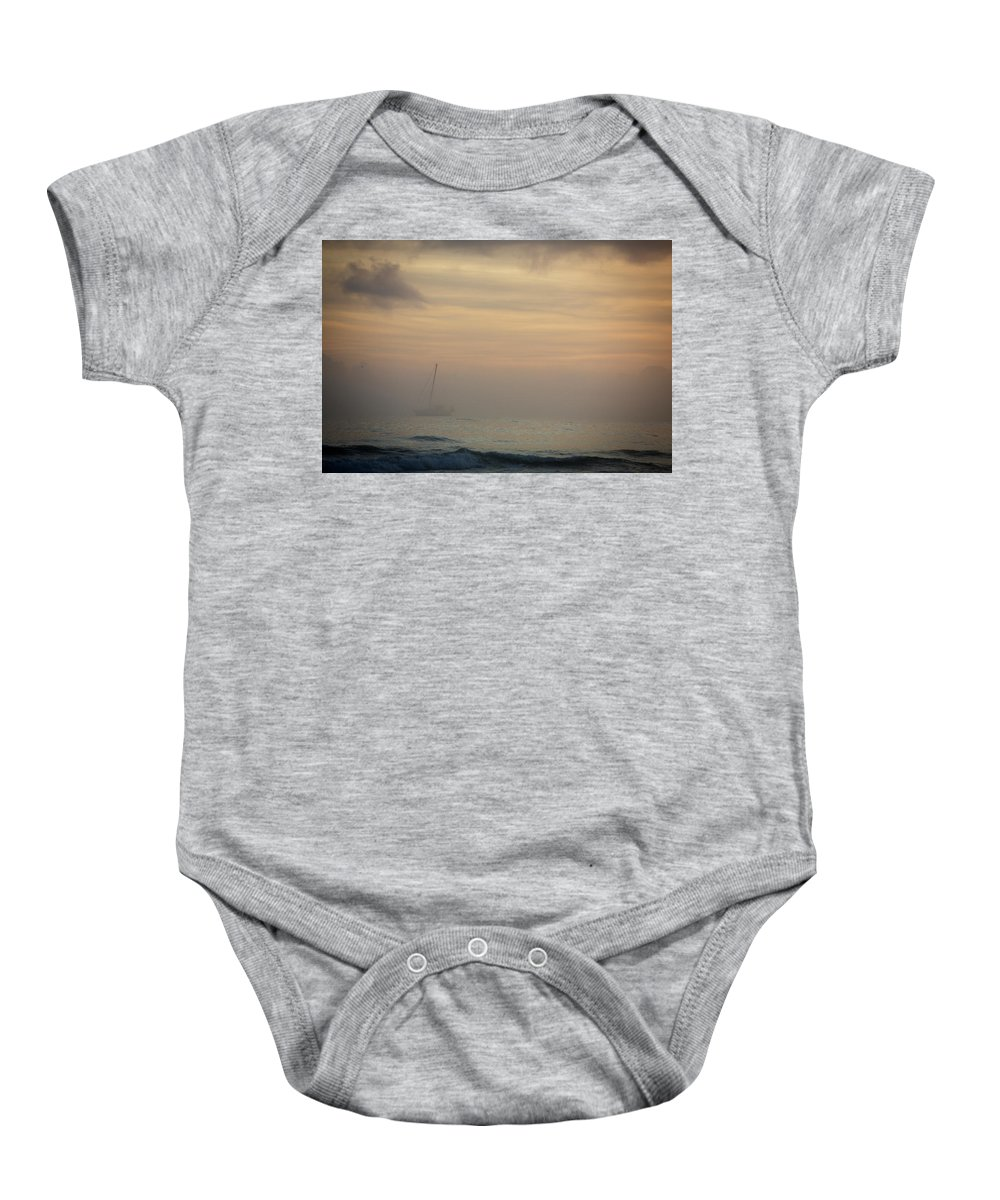 Nautical Vessel Baby Onesie featuring the photograph A Sailboat In The Morning Mist by Todd Korol