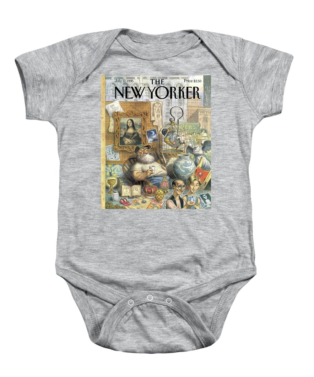 Treasure Baby Onesie featuring the painting A Shopkeeper Sells Odd Items by Peter de Seve