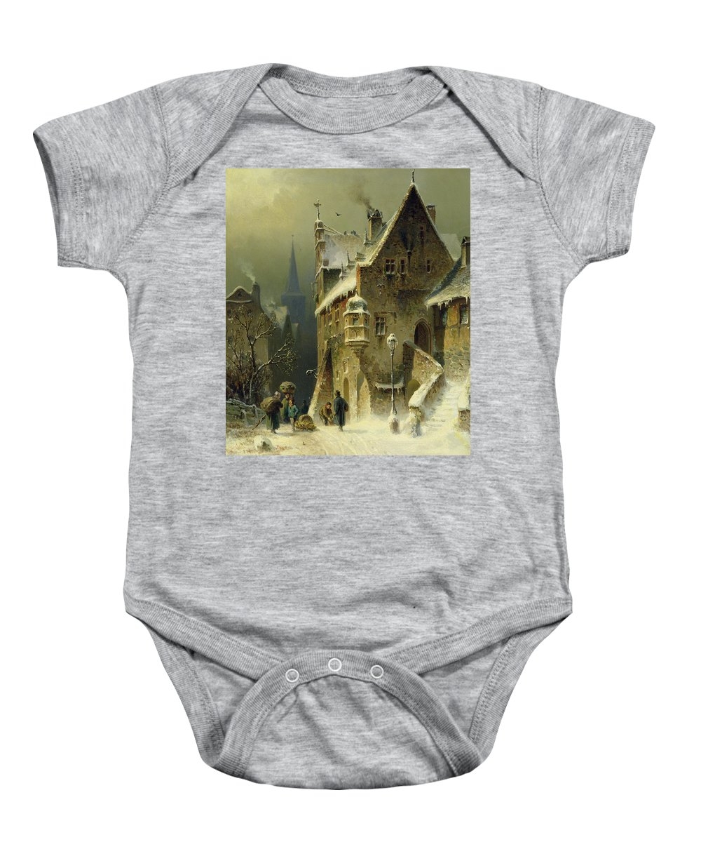 Schlieker Baby Onesie featuring the painting A Small Town In The Rhine by August Schlieker