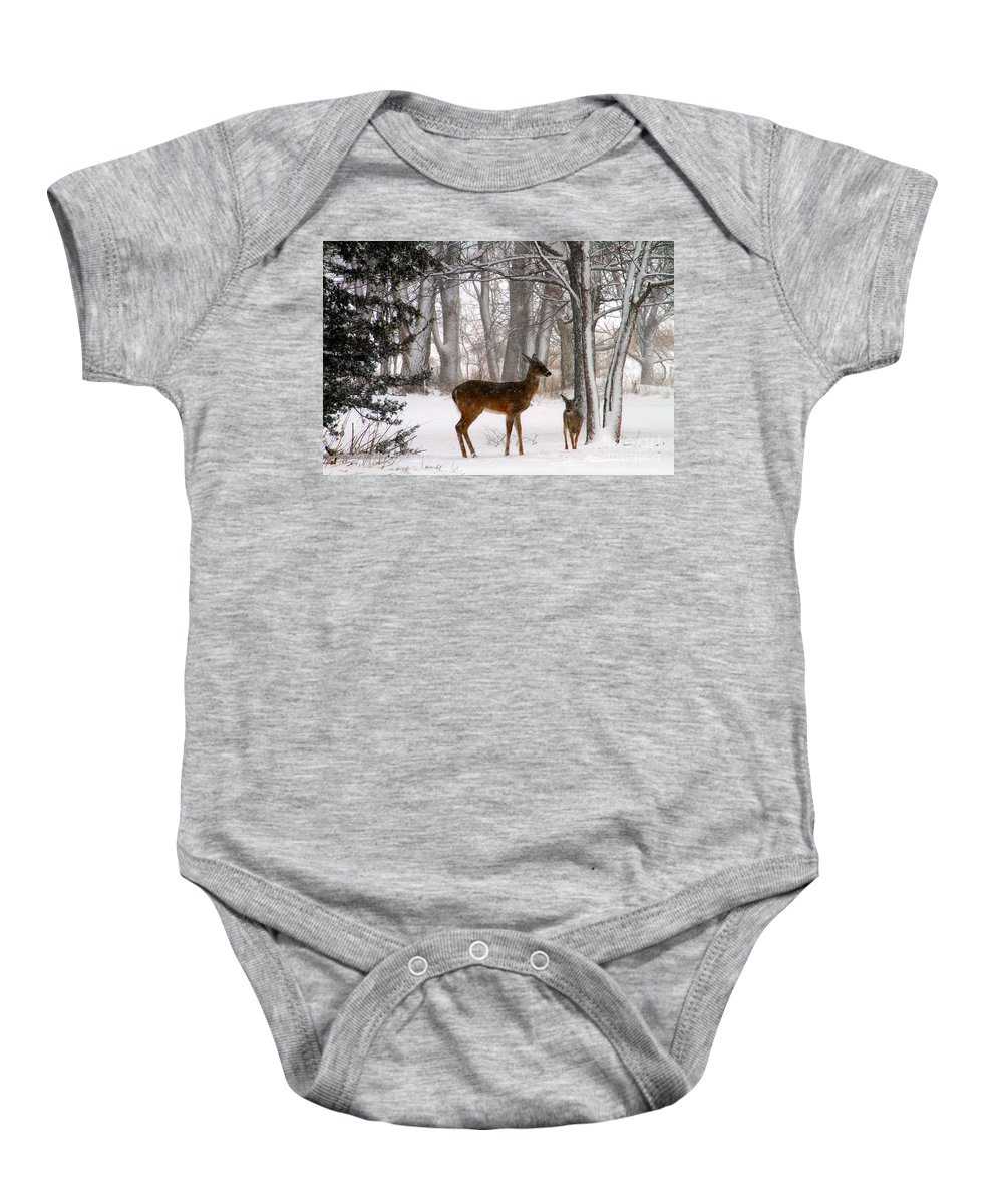 Snow Baby Onesie featuring the photograph A Snowy Path by Elizabeth Winter
