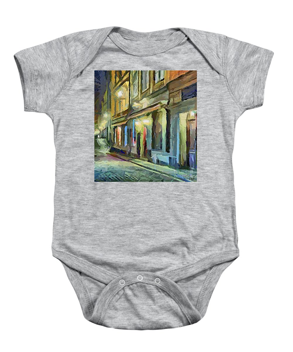 Cityscape Baby Onesie featuring the painting A Street With The Local Inn by Dragica Micki Fortuna