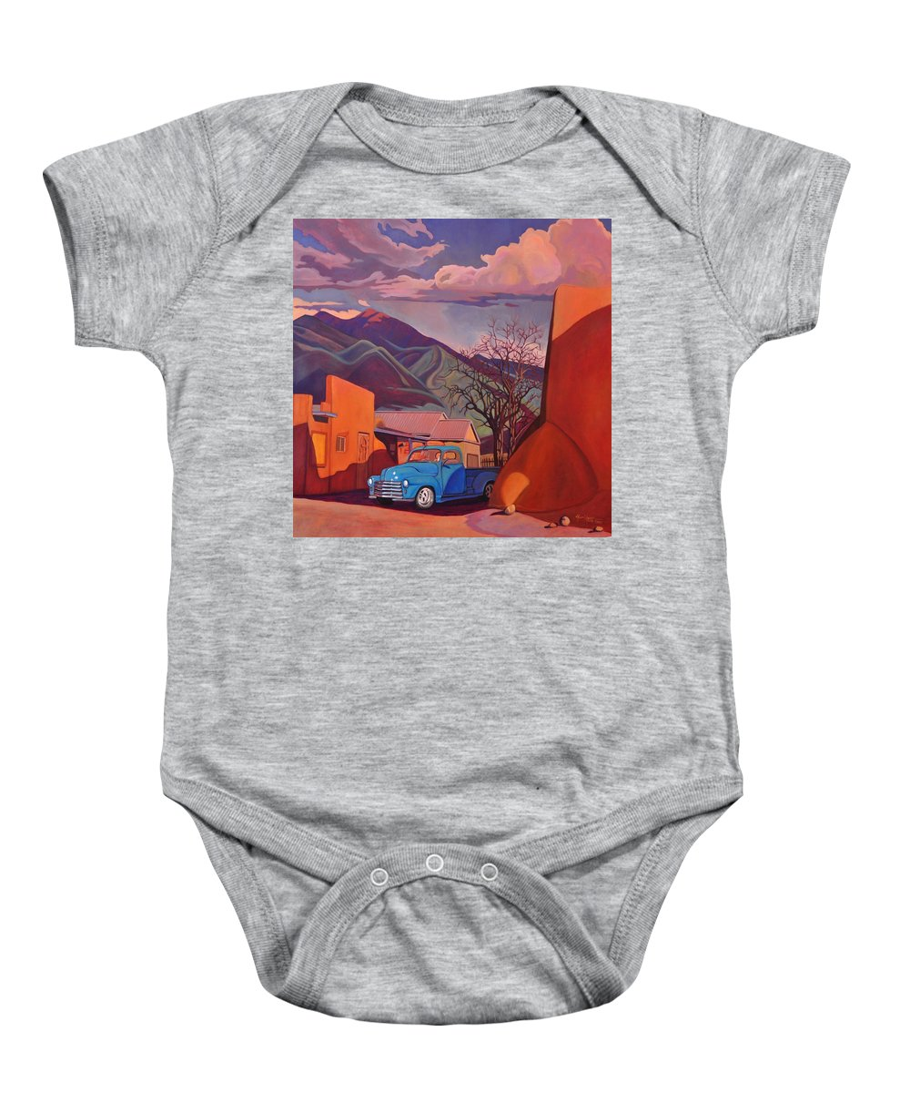 Old Baby Onesie featuring the painting A Teal Truck In Taos by Art James West