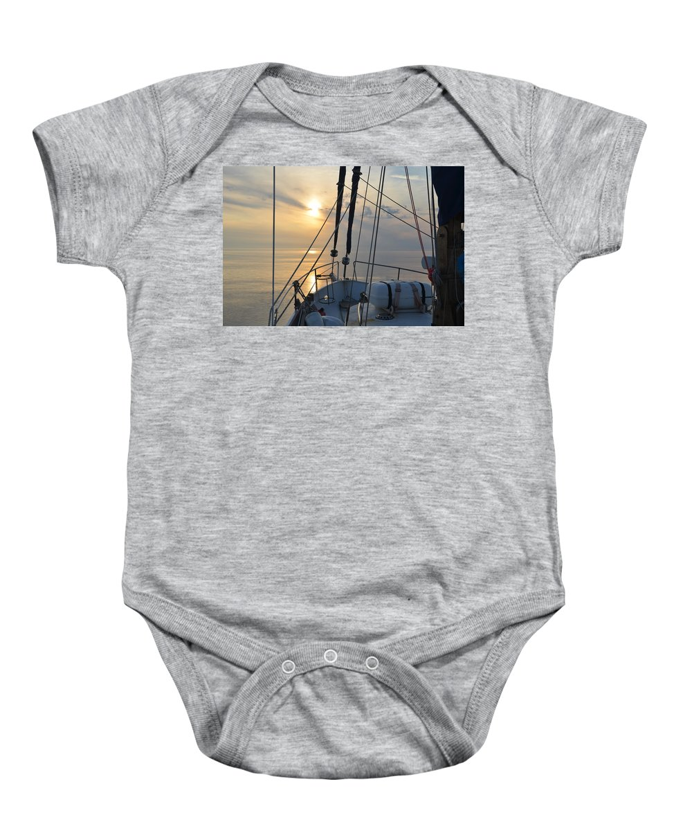 Sky Baby Onesie featuring the photograph A View From A Boat by Malcolm Snook