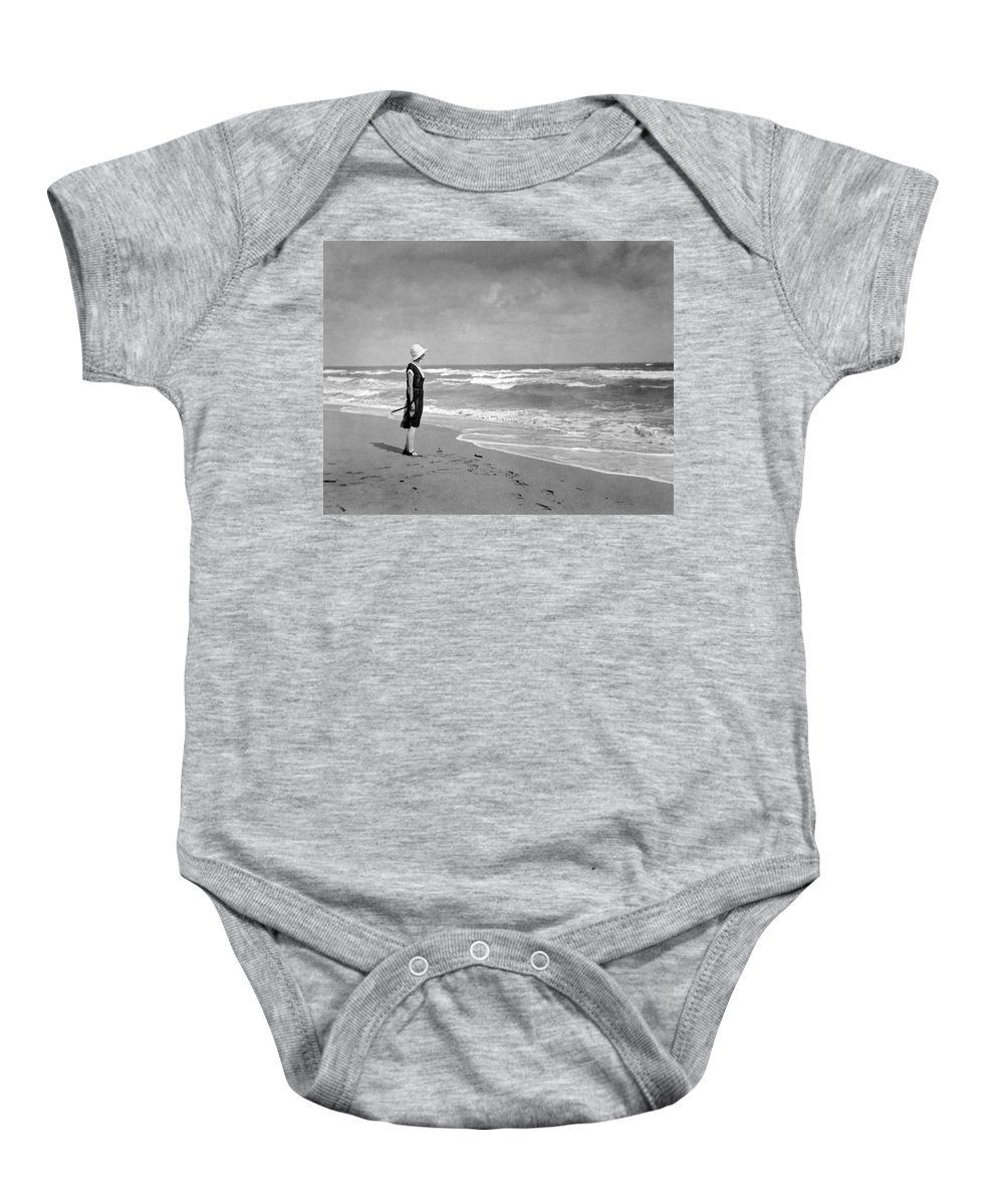 1925 Baby Onesie featuring the photograph A Winter Day At Miami Beach by Underwood Archives