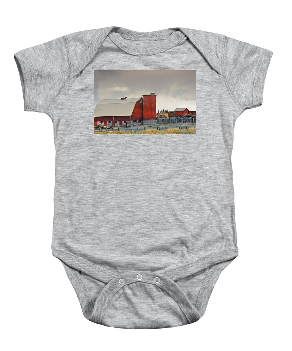 Barn Baby Onesie featuring the photograph A Working Farm by Image Takers Photography LLC - Laura Morgan