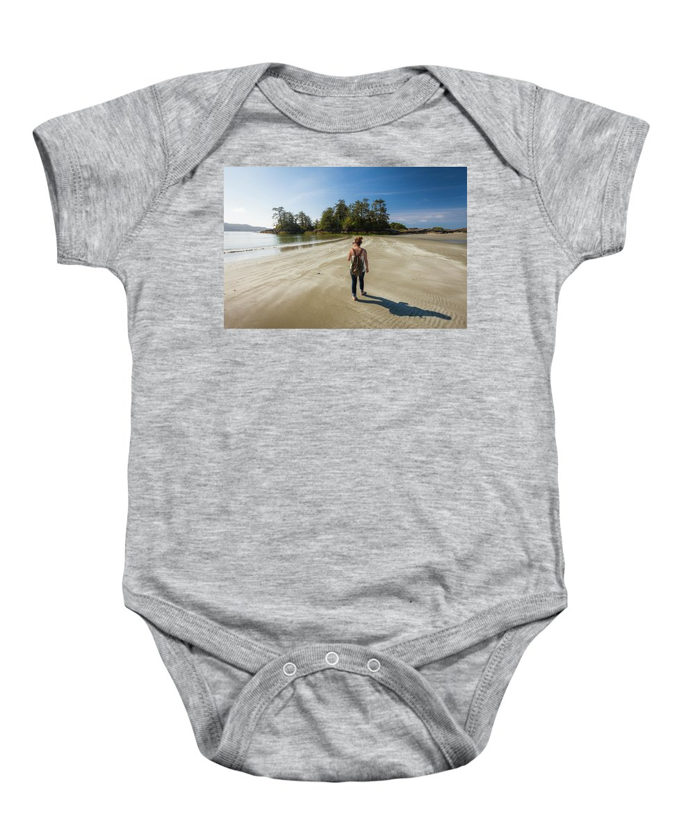 Idyllic Baby Onesie featuring the photograph A Young Woman Walks Towards Frank by Christopher Kimmel