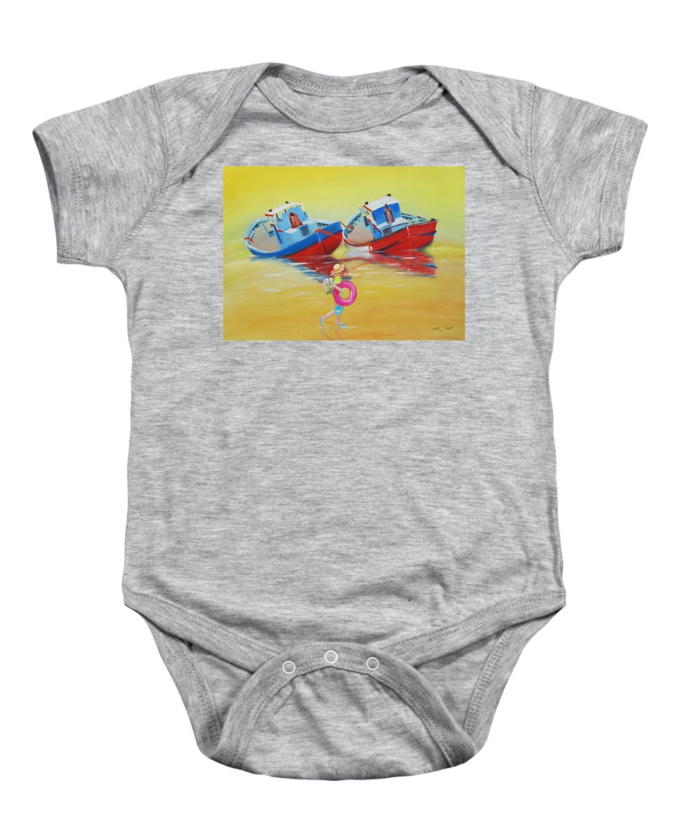 Red Fishing Boats Baby Onesie featuring the painting Abandoned Fishing Boats Tavira by Charles Stuart