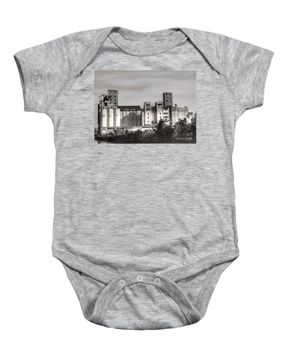 Abandoned Baby Onesie featuring the photograph Abandoned Mills by Kathleen Struckle