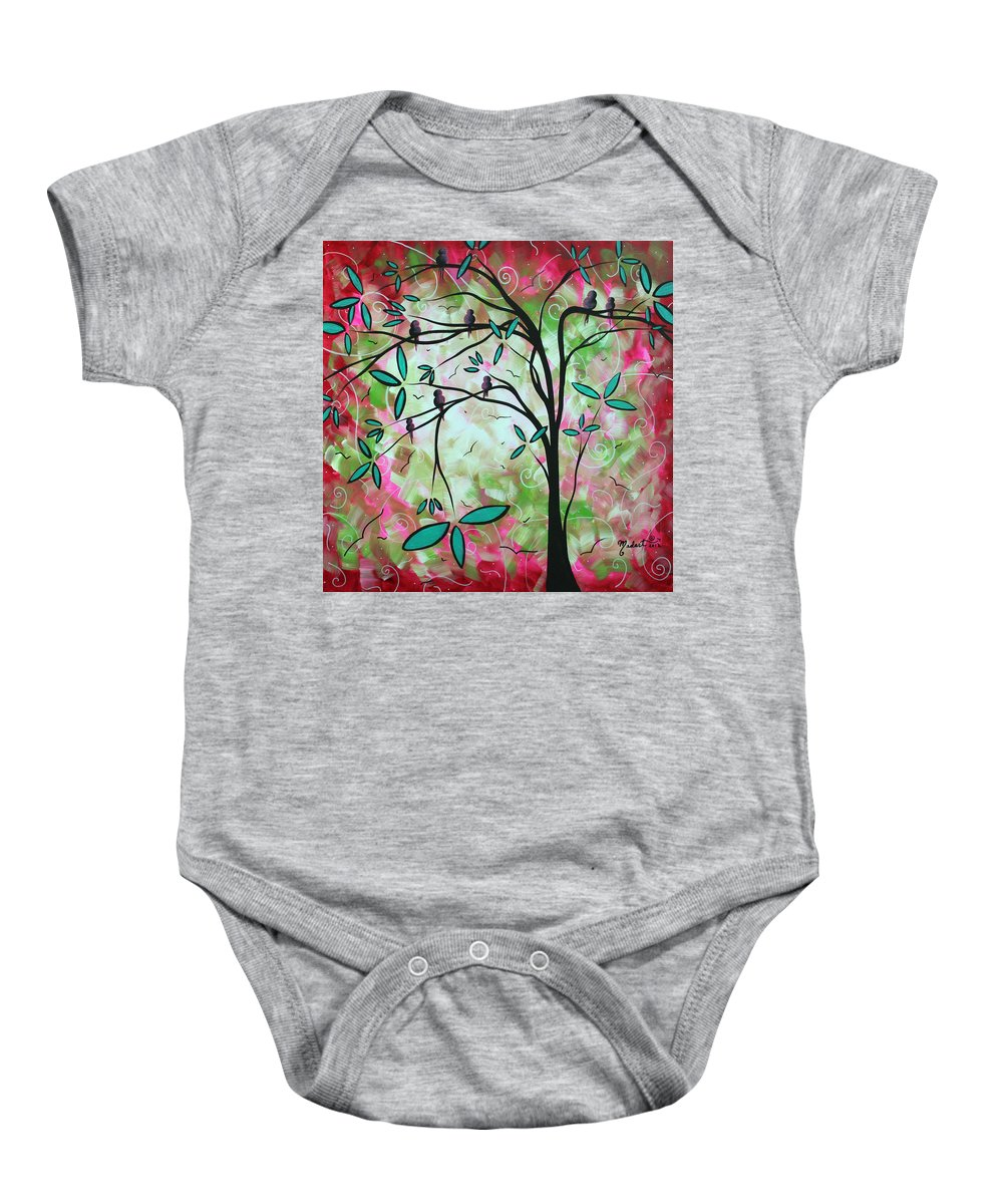 Whimsical Baby Onesie featuring the painting Abstract Art Original Whimsical Magical Bird Painting Through The Looking Glass by Megan Duncanson