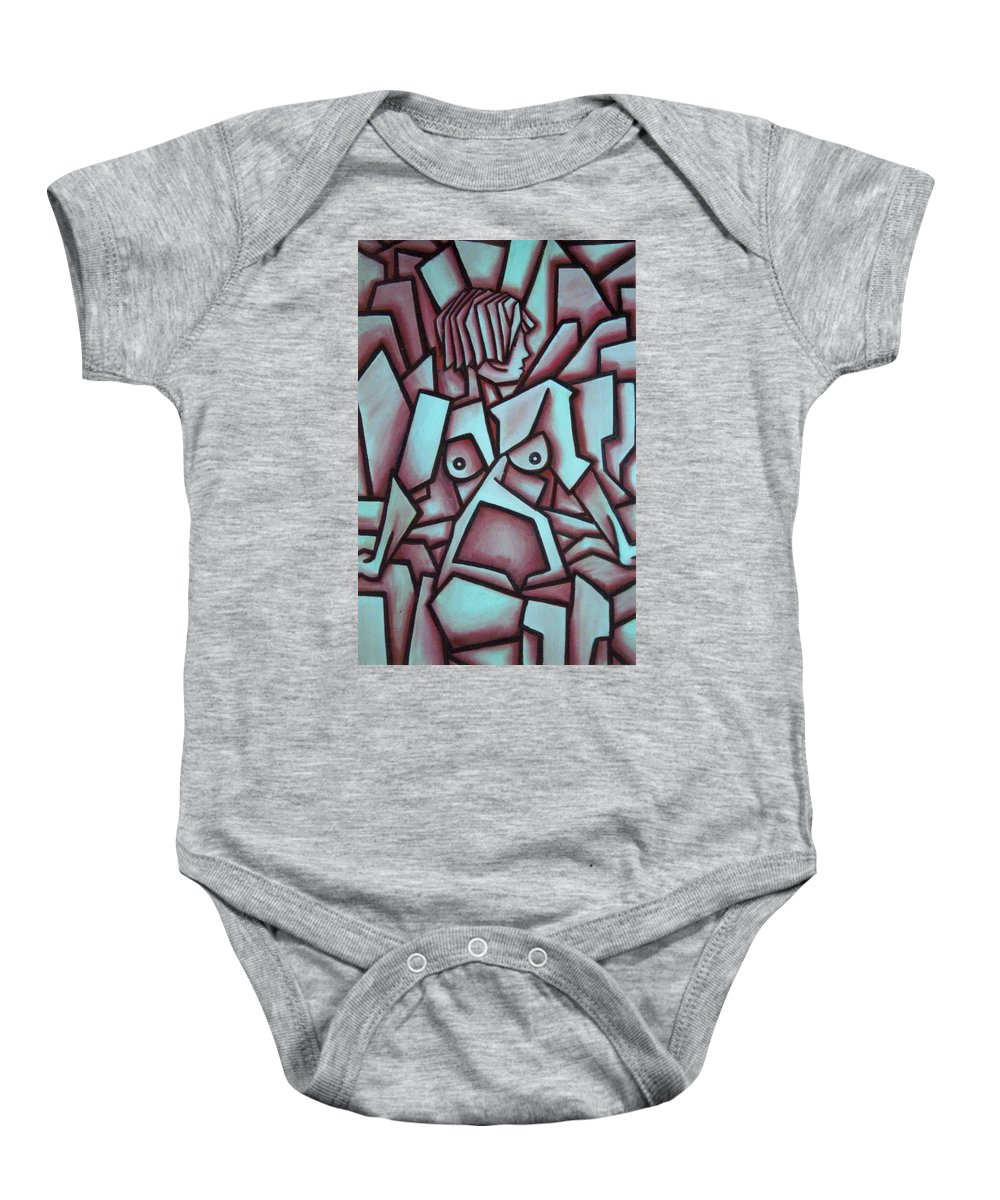 Abstact Baby Onesie featuring the painting Abstract Girl by Thomas Valentine