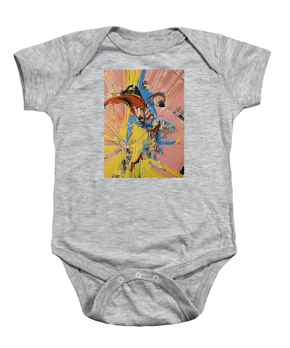 Abstract Art Paintings Baby Onesie featuring the painting Action Abstraction No. 14 by David Leblanc