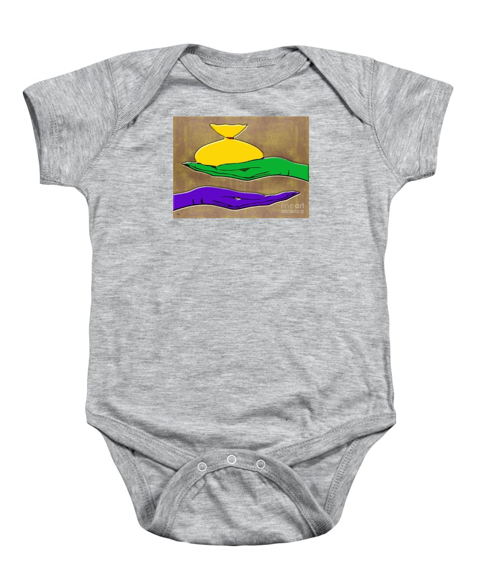 Charity Baby Onesie featuring the painting Acts Of Kindness by Patrick J Murphy