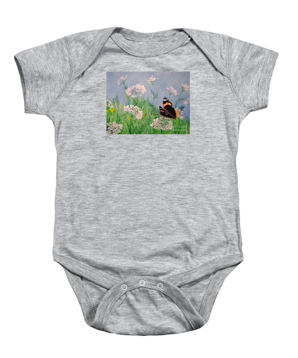 Admiral Baby Onesie featuring the painting Admiral And Lace by Lynn Quinn