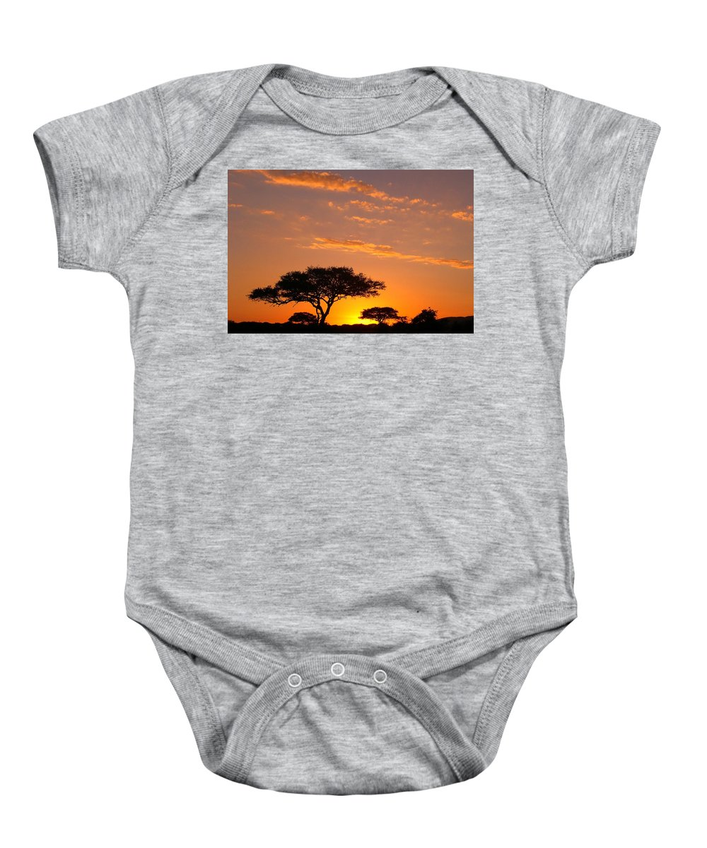Africa Baby Onesie featuring the photograph African Sunset by Sebastian Musial