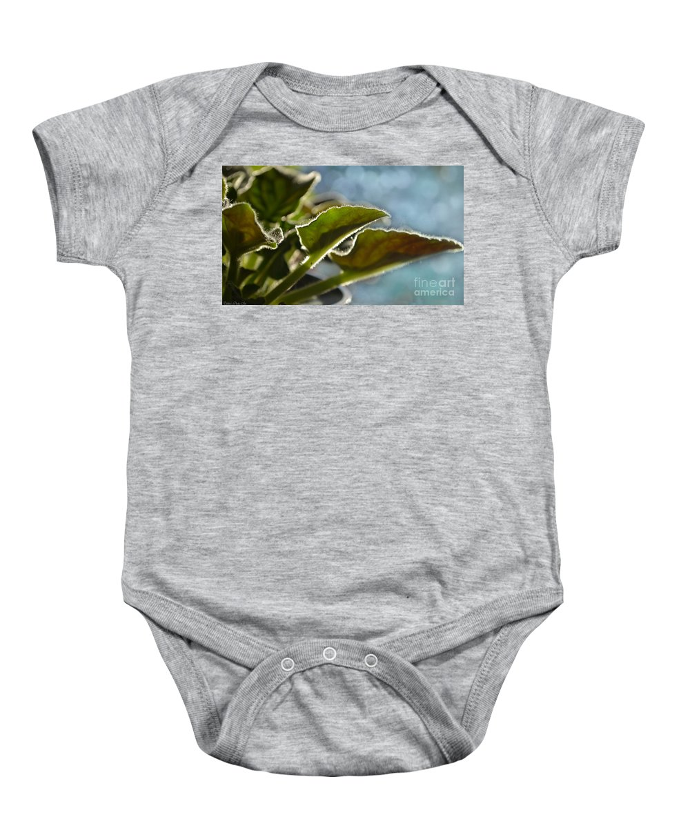 Botanical Baby Onesie featuring the photograph African Violet Leaves With Bokeh  by Debbie Portwood