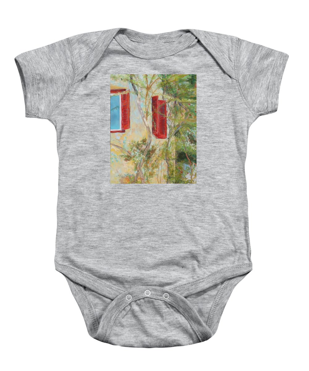 Europe Baby Onesie featuring the painting Afternoon In Athens by Mary Benke