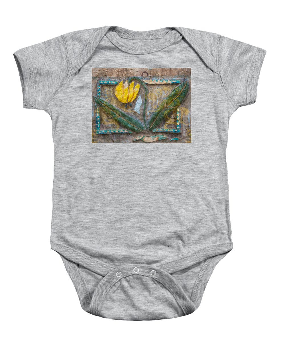 North Cascades Baby Onesie featuring the painting Aged Yellow Brilliance by Omaste Witkowski