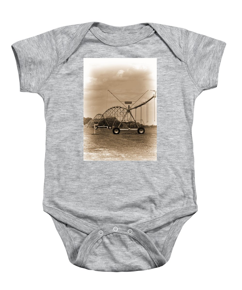 Irrigation Baby Onesie featuring the photograph Alabama Irrigation System Vignette by Kathy Clark