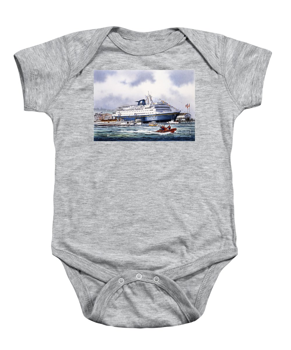 Alaska Ferry Fine Art Print Baby Onesie featuring the painting Alaska Ferry by James Williamson