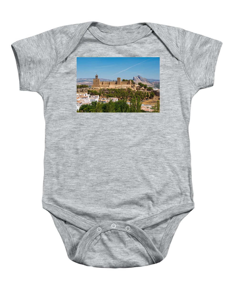 The Alcazaba (fortress) Of Antequera Baby Onesie featuring the photograph Alcazaba by Paul Fearn