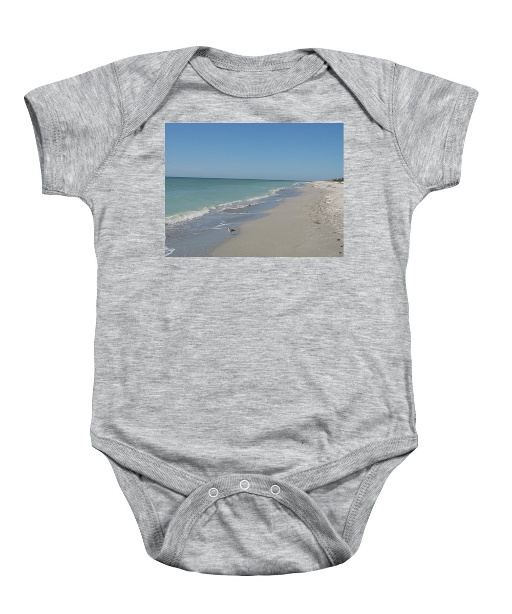 Beach Baby Onesie featuring the photograph Alone At The Beach by Christiane Schulze Art And Photography