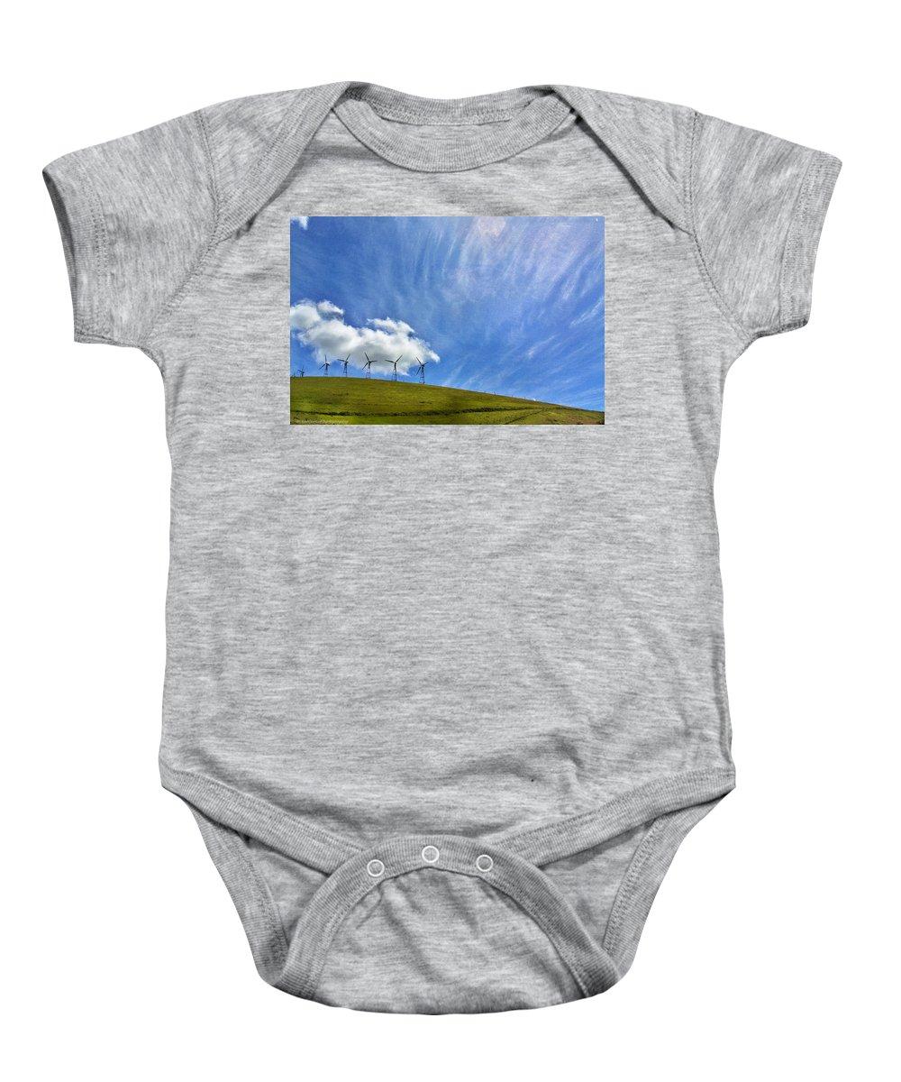 Landscape Baby Onesie featuring the photograph Altamont Windmills by Mark Robert Bein