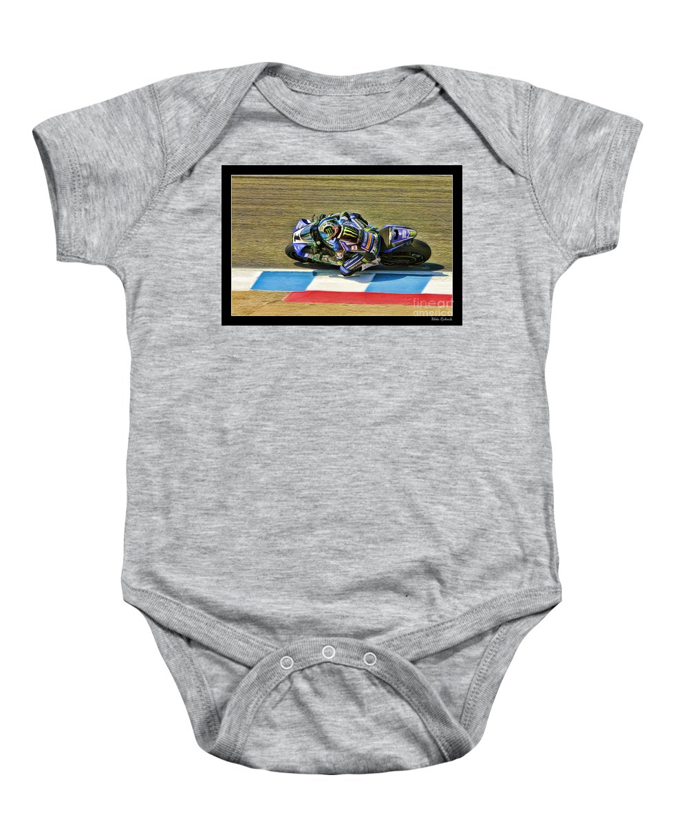 Ama Superbike Baby Onesie featuring the photograph Ama Superbike Josh Jayes From Above by Blake Richards