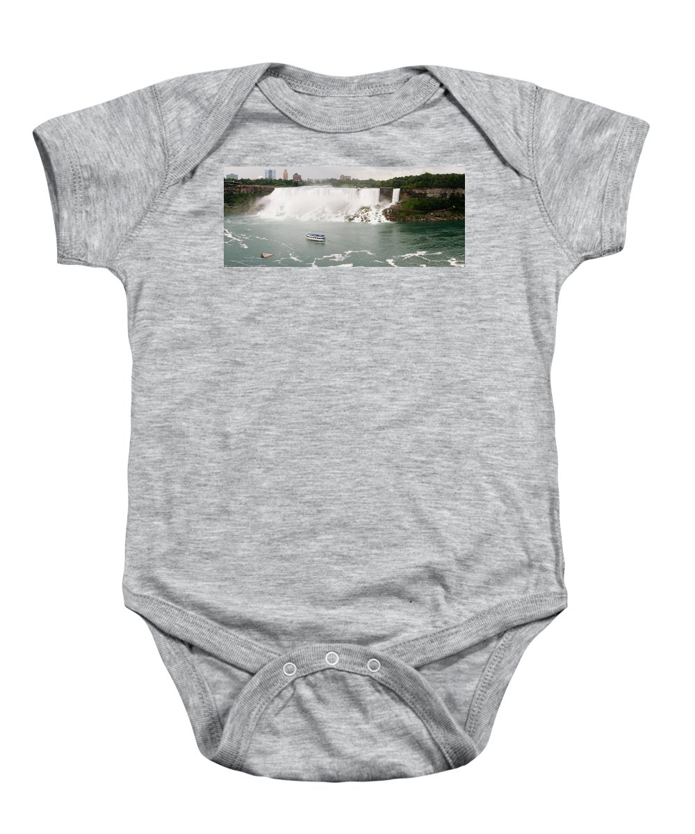 3scape Baby Onesie featuring the photograph American Falls by Adam Romanowicz