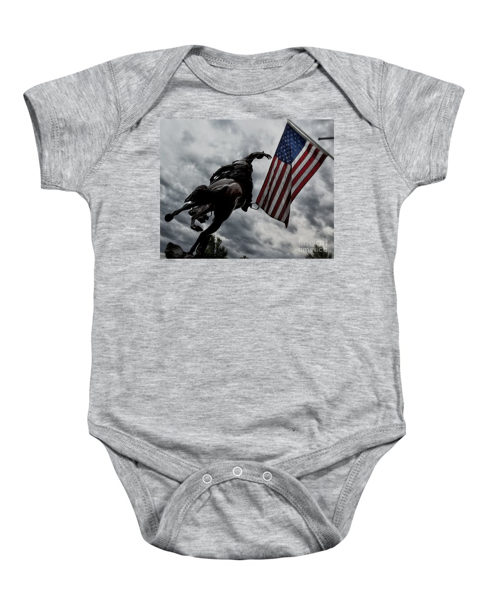 American Flag Baby Onesie featuring the photograph American Spirit by Belinda Greb