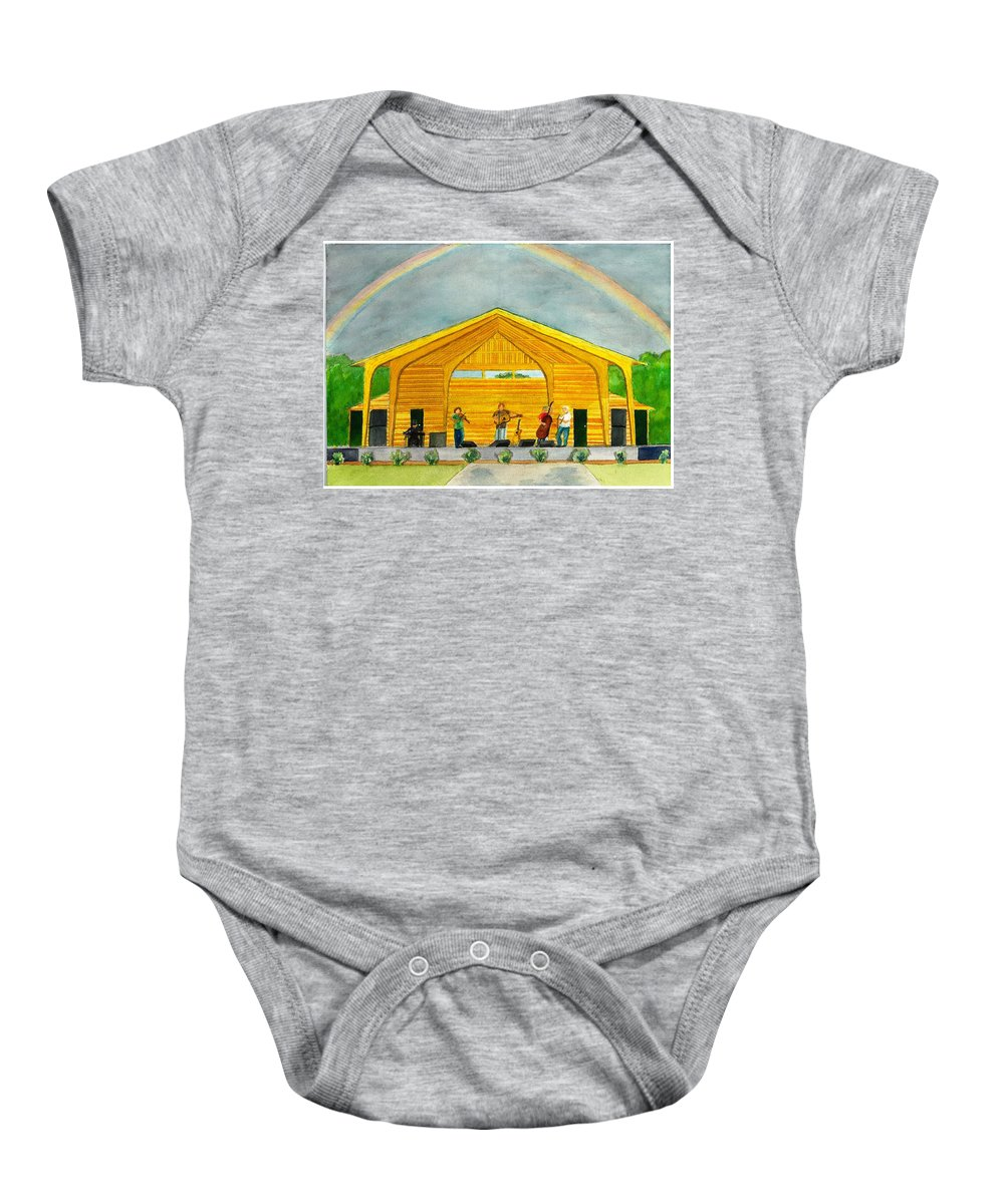 Amphitheater Baby Onesie featuring the painting Amphitheater by David Bartsch