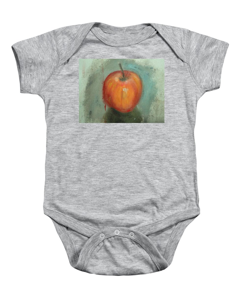 Apple Baby Onesie featuring the painting An Apple by Usha Shantharam
