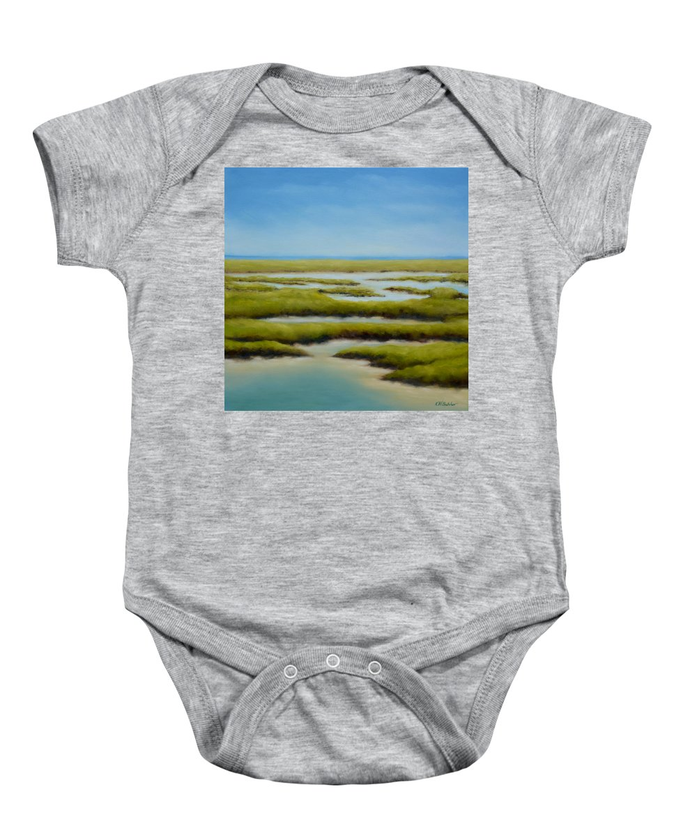 Anahuac Baby Onesie featuring the painting Anahuac Afternoon by Karen Butcher