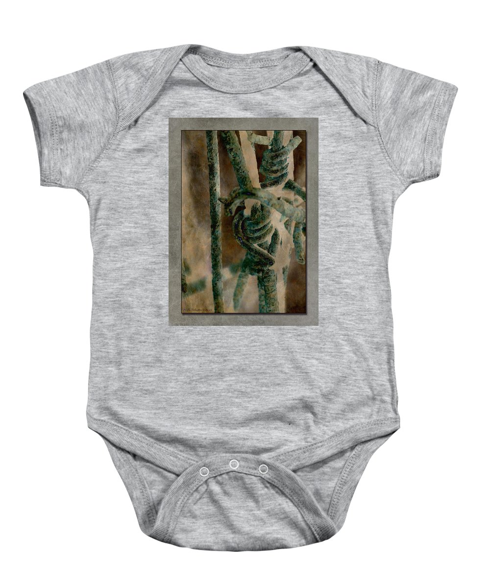 Barbed Wire Baby Onesie featuring the photograph Ancient Barrier by WB Johnston