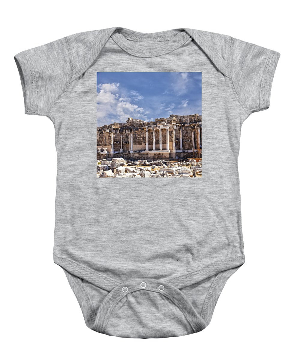 Antique Baby Onesie featuring the photograph Ancient Ruins In Side Turkey by Sophie McAulay