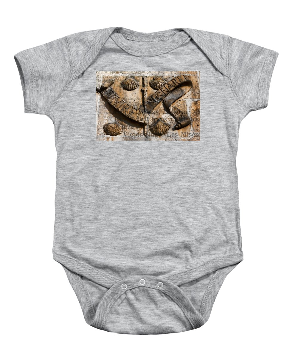 Arch Baby Onesie featuring the photograph Ancient Wall With Hugo by Evie Carrier