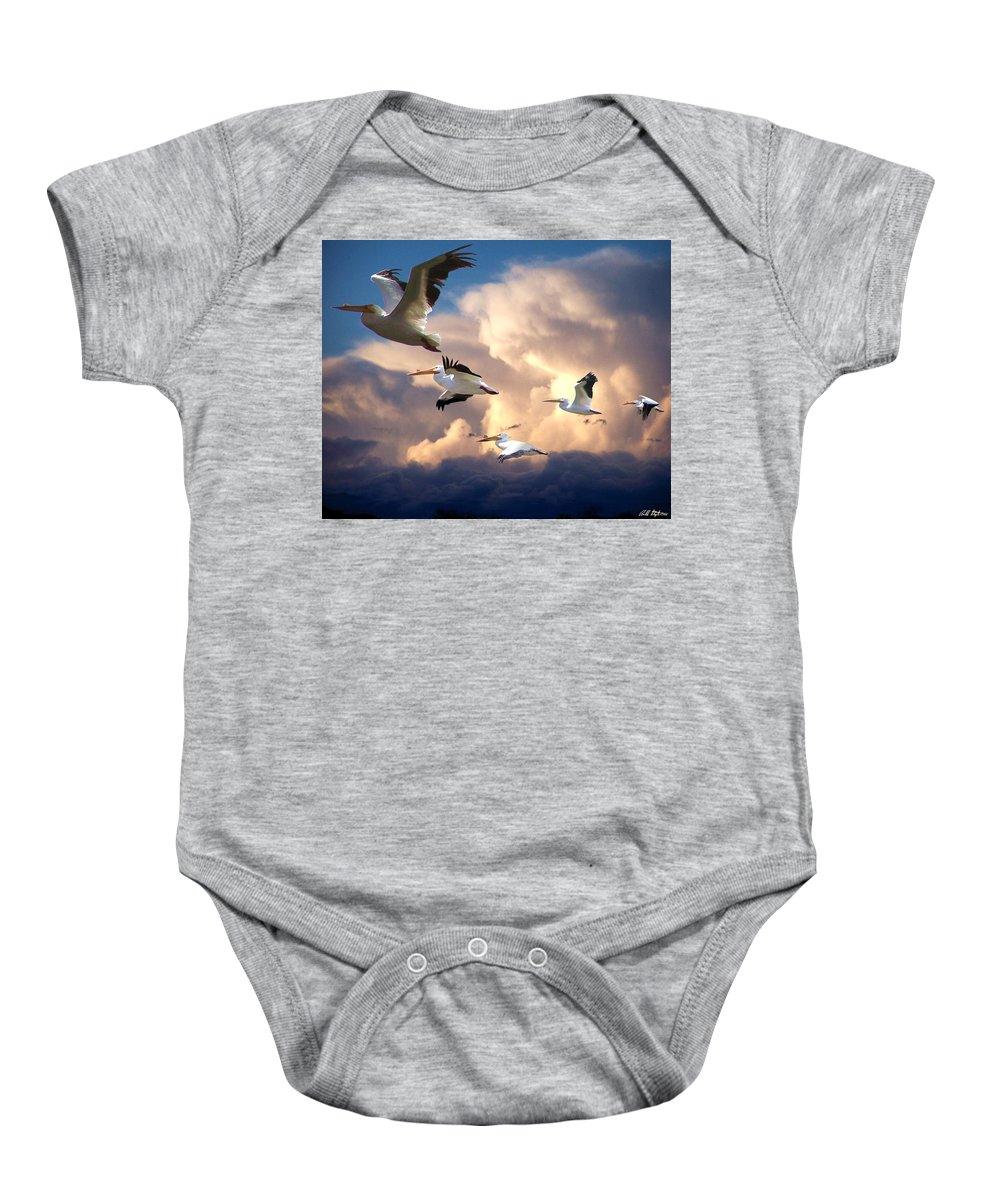Angels In Flight Baby Onesie featuring the photograph Angels In Flight by Bill Stephens