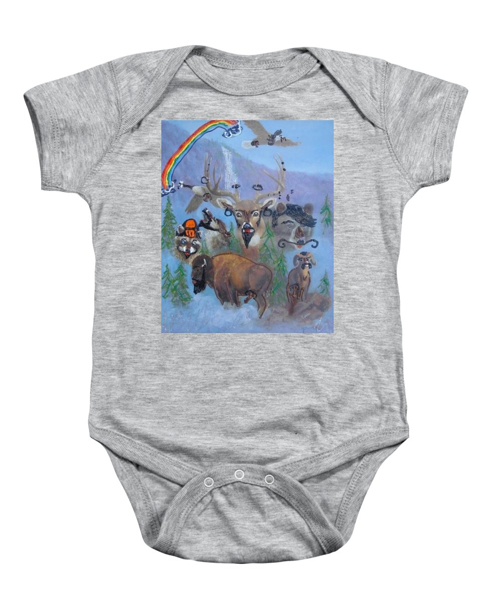 Dear Baby Onesie featuring the painting Animal Equality by Lisa Piper