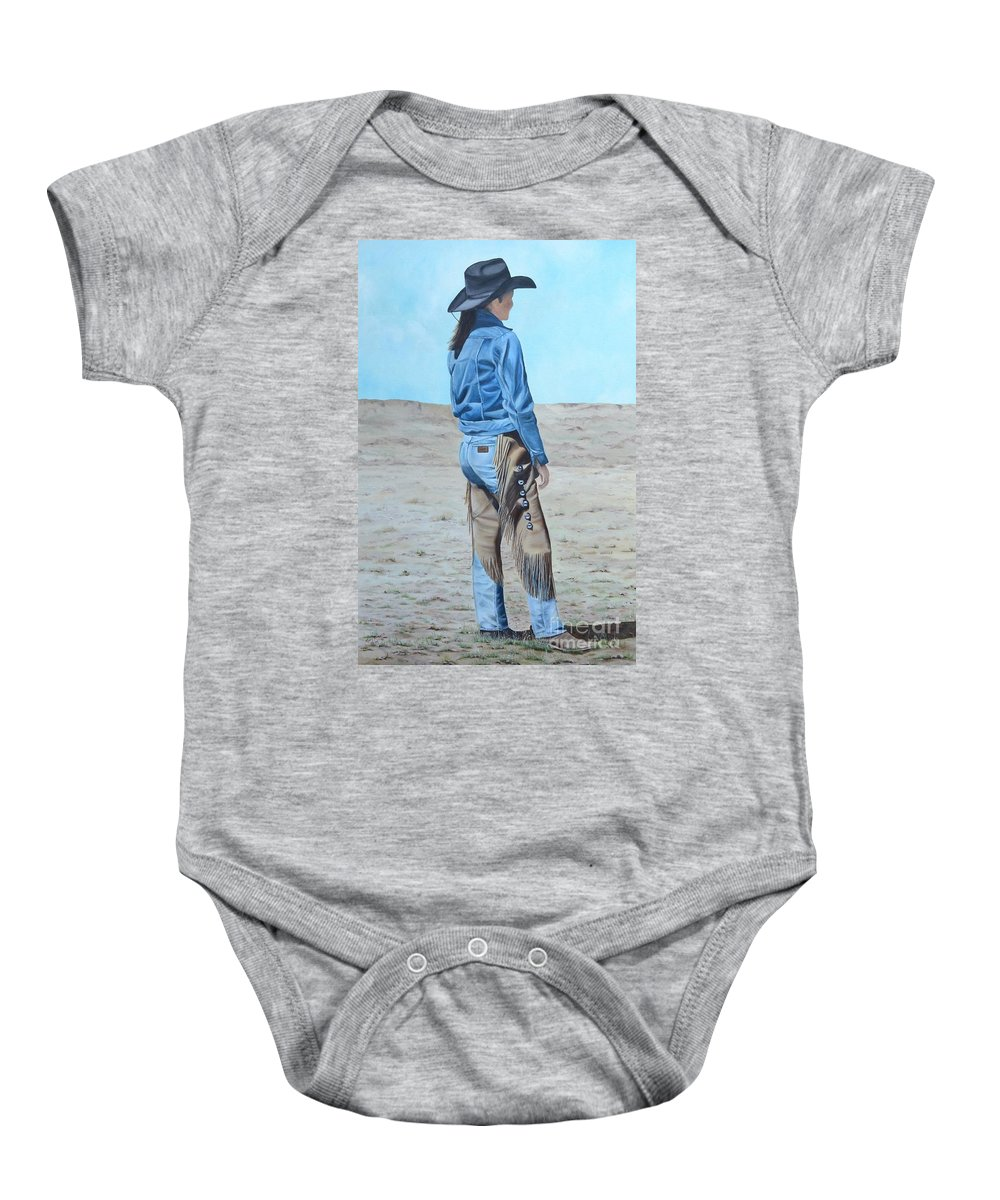 Ranch Baby Onesie featuring the painting Anna After The Ride by Mary Rogers